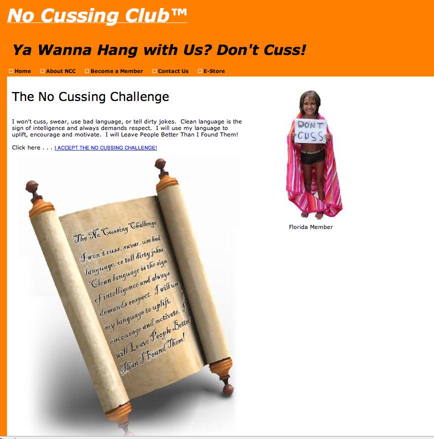 "Una pagina dal sito ""Nocussing.com""."