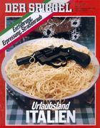 """Celebre copertina di """"Der Spiegel"""" (1977): pistola e spaghetti per rappresentare l'Italia. Un'immagine infamante che ancora ci brucia."""