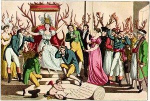 L'Ordine dei cornuti davanti al trono di Sua Maestà, Infedeltà: vignetta francese, 1815.