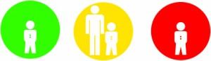 I bollini per i minori introdotti da Mediaset: verde per i programmi adatti ai bambini, giallo per quelli visibili se affiancati da un adulto, rosso sconsigliato ai bambini.