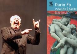 Dario Fo e la copertina del suo ultimo libro.