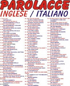 Poster interlinguistico sulle parolacce italiane e inglesi.