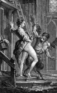 Il diavolo di Papefiguiere, incisione di Charles Eisen per i racconti di Jean de la Fontaine.