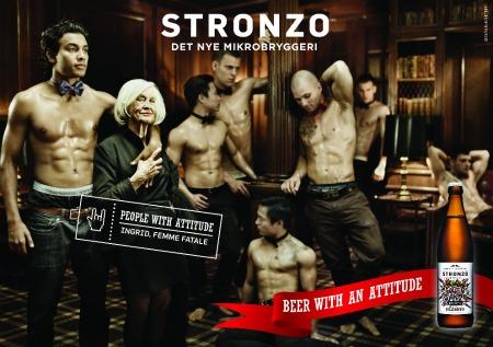 """Pubblicità delle birre """"Stronzo"""" dell'omonima birreria a Gørløse, in Danimarca."""