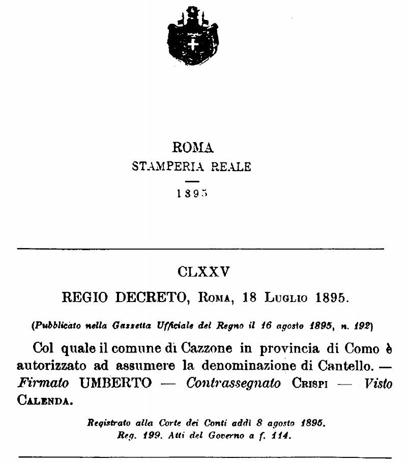 Il regio decreto che trasformò Cazzone in Cantello.
